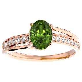 1 1/2 Carat Oval Shape Peridot and Diamond Ring In 14 Karat Rose Gold
