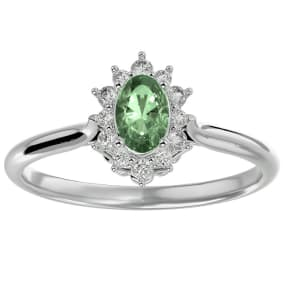 2/3 Carat Oval Shape Green Amethyst and Halo Diamond Ring In 14 Karat White Gold