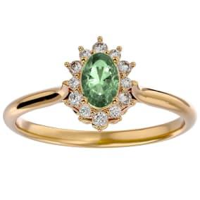 2/3 Carat Oval Shape Green Amethyst and Halo Diamond Ring In 14 Karat Yellow Gold