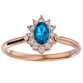 2/3 Carat Oval Shape Blue Topaz and Halo Diamond Ring In 14 Karat Rose Gold