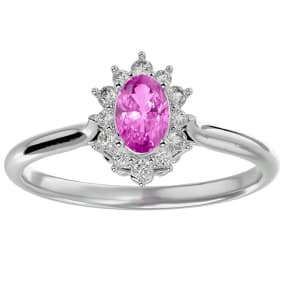 2/3 Carat Oval Shape Pink Topaz and Halo Diamond Ring In 14 Karat White Gold