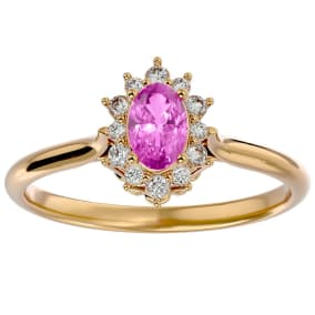 2/3 Carat Oval Shape Pink Topaz and Halo Diamond Ring In 14 Karat Yellow Gold