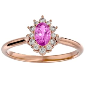 2/3 Carat Oval Shape Pink Topaz and Halo Diamond Ring In 14 Karat Rose Gold