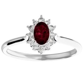 2/3 Carat Oval Shape Garnet and Halo Diamond Ring In 14 Karat White Gold