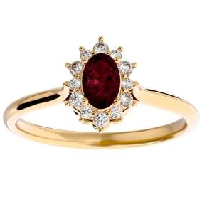 2/3 Carat Oval Shape Garnet and Halo Diamond Ring In 14 Karat Yellow Gold