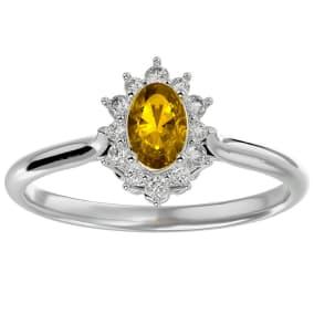 2/3 Carat Oval Shape Citrine and Halo Diamond Ring In 14 Karat White Gold