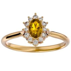 2/3 Carat Oval Shape Citrine and Halo Diamond Ring In 14 Karat Yellow Gold