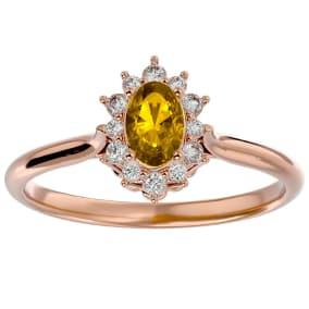 2/3 Carat Oval Shape Citrine and Halo Diamond Ring In 14 Karat Rose Gold