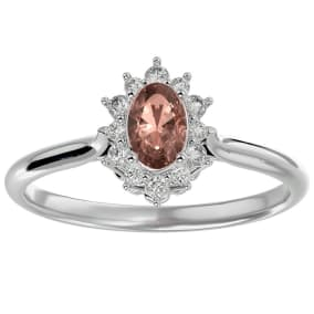 2/3 Carat Oval Shape Morganite and Halo Diamond Ring In 14 Karat White Gold