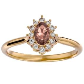 2/3 Carat Oval Shape Morganite and Halo Diamond Ring In 14 Karat Yellow Gold