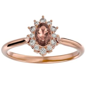 2/3 Carat Oval Shape Morganite and Halo Diamond Ring In 14 Karat Rose Gold