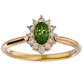 2/3 Carat Oval Shape Peridot and Halo Diamond Ring In 14 Karat Yellow Gold