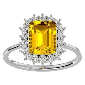 2 1/3 Carat Citrine and Halo Diamond Ring In 14K White Gold