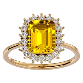2 1/3 Carat Citrine and Halo Diamond Ring In 14K Yellow Gold
