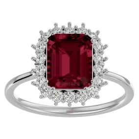 3 Carat Garnet and Halo Diamond Ring In 14K White Gold