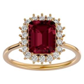 3 Carat Garnet and Halo Diamond Ring In 14K Yellow Gold