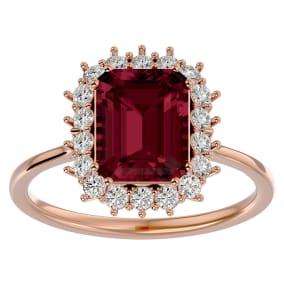 3 Carat Garnet and Halo Diamond Ring In 14K Rose Gold