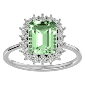 2 1/3 Carat Green Amethyst and Halo Diamond Ring In 14K White Gold