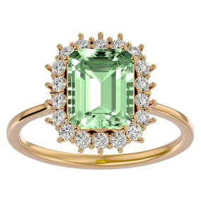 2 1/3 Carat Green Amethyst and Halo Diamond Ring In 14K Yellow Gold
