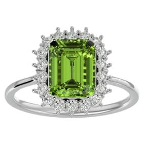 2 3/4 Carat Peridot and Halo Diamond Ring In 14K White Gold