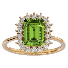 2 3/4 Carat Peridot and Halo Diamond Ring In 14K Yellow Gold