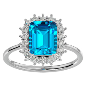 3 Carat Blue Topaz and Halo Diamond Ring In 14K White Gold