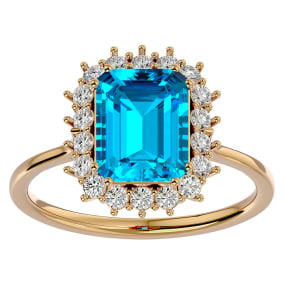 3 Carat Blue Topaz and Halo Diamond Ring In 14K Yellow Gold