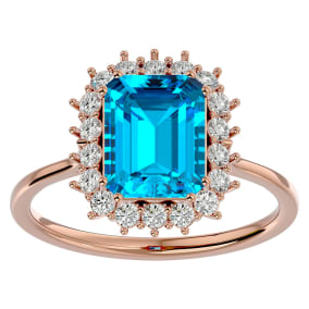 3 Carat Blue Topaz and Halo Diamond Ring In 14K Rose Gold
