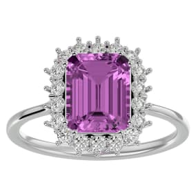 3 Carat Pink Topaz and Halo Diamond Ring In 14K White Gold