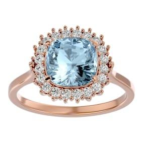 2 1/2 Carat Cushion Cut Aquamarine and Halo Diamond Ring In 14K Rose Gold