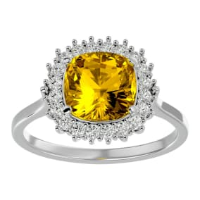 2 1/2 Carat Cushion Cut Citrine and Halo Diamond Ring In 14K White Gold