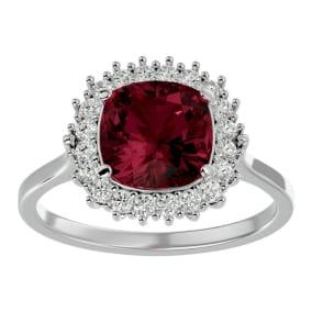 3 1/2 Carat Cushion Cut Garnet and Halo Diamond Ring In 14K White Gold