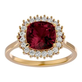 3 1/2 Carat Cushion Cut Garnet and Halo Diamond Ring In 14K Yellow Gold