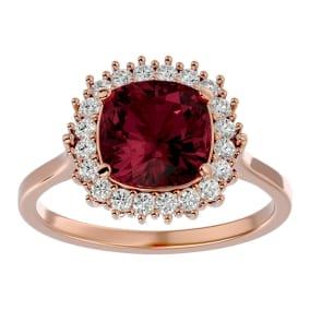 3 1/2 Carat Cushion Cut Garnet and Halo Diamond Ring In 14K Rose Gold