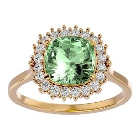 2 1/2 Carat Cushion Cut Green Amethyst and Halo Diamond Ring In 14K Yellow Gold