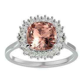 3 1/2 Carat Cushion Cut Morganite and Halo Diamond Ring In 14K White Gold