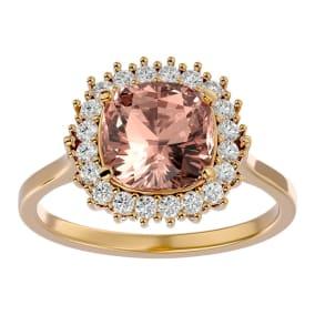 3 1/2 Carat Cushion Cut Morganite and Halo Diamond Ring In 14K Yellow Gold