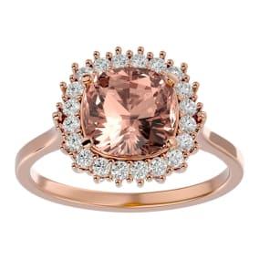 3 1/2 Carat Cushion Cut Morganite and Halo Diamond Ring In 14K Rose Gold