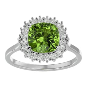 3 Carat Cushion Cut Peridot and Halo Diamond Ring In 14K White Gold
