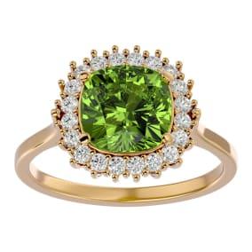 3 Carat Cushion Cut Peridot and Halo Diamond Ring In 14K Yellow Gold
