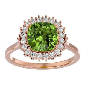 3 Carat Cushion Cut Peridot and Halo Diamond Ring In 14K Rose Gold