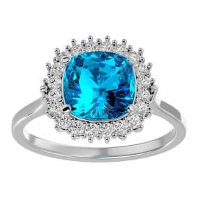 3 Carat Cushion Cut Blue Topaz and Halo Diamond Ring In 14K White Gold