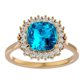 3 Carat Cushion Cut Blue Topaz and Halo Diamond Ring In 14K Yellow Gold