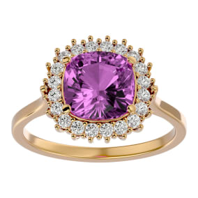 3 Carat Cushion Cut Pink Topaz and Halo Diamond Ring In 14K Yellow Gold