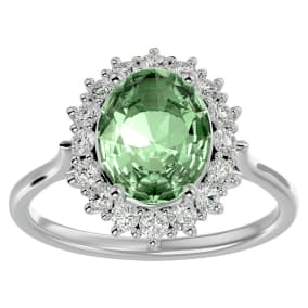 2 3/4 Carat Oval Shape Green Amethyst and Halo Diamond Ring In 14 Karat White Gold