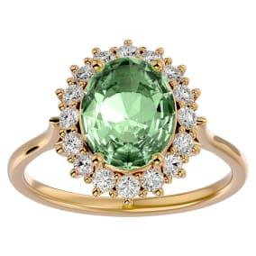 2 3/4 Carat Oval Shape Green Amethyst and Halo Diamond Ring In 14 Karat Yellow Gold