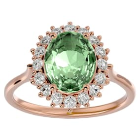2 3/4 Carat Oval Shape Green Amethyst and Halo Diamond Ring In 14 Karat Rose Gold