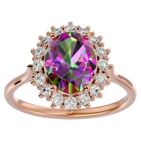 2 3/4 Carat Oval Shape Mystic Topaz and Halo Diamond Ring In 14 Karat Rose Gold