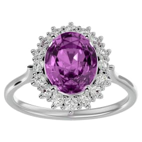 3 3/4 Carat Oval Shape Pink Topaz and Halo Diamond Ring In 14 Karat White Gold