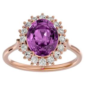 3 3/4 Carat Oval Shape Pink Topaz and Halo Diamond Ring In 14 Karat Rose Gold